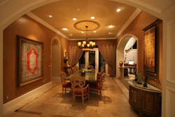 Photo of dining area with warm tones
