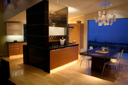 Photo of kitchen with spectacular lighting